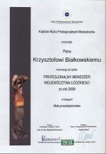 Nominacja do tytułu Profesjonalny Menedżer Województwa Łódzkiego za rok 2009