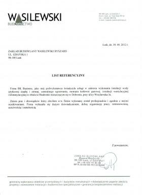 List referencyjny Zakładu Budowlanego Wasilewski Ryszard