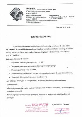 Referencje od firmy EKO WIATR