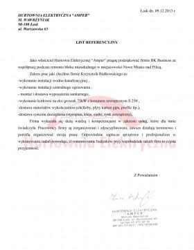 List referencyjny firmy AMPER Mariusz Wawrzyniak