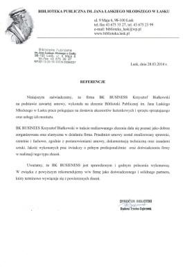 Referencje od Biblioteki Publicznej w Łasku