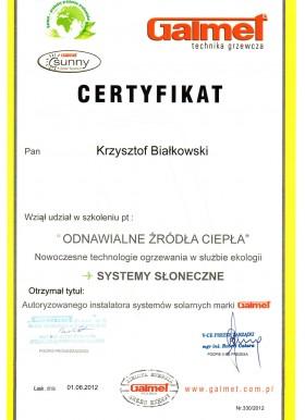 Certyfikat z udziału w szkoleniu Odnawialne Źródła Ciepła