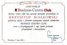 Certyfikat Business Center Club