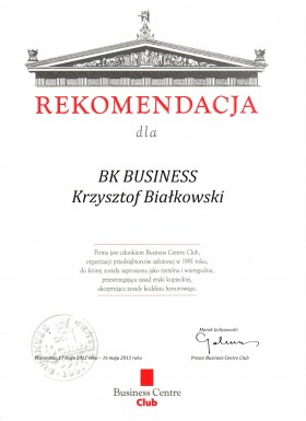 Rekomendacja Business Center Club