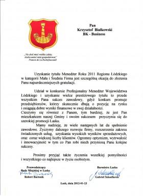 Gratulacje od Burmistrza Łasku i Przewodniczącego Rady Miejskiej w Łasku