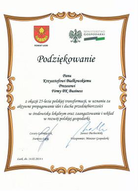 Podziękowania od Ministra Gospodarki oraz Starosty Łaskiego