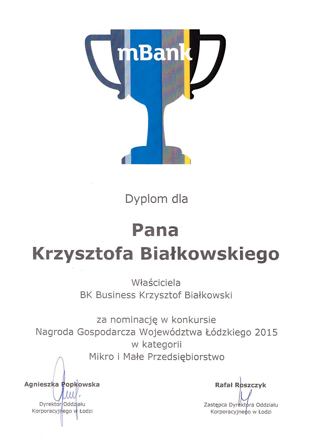 Dyplom uznania od mBanku